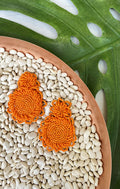 SEED BEAD CLUSTER STATEMENT EARRINGS