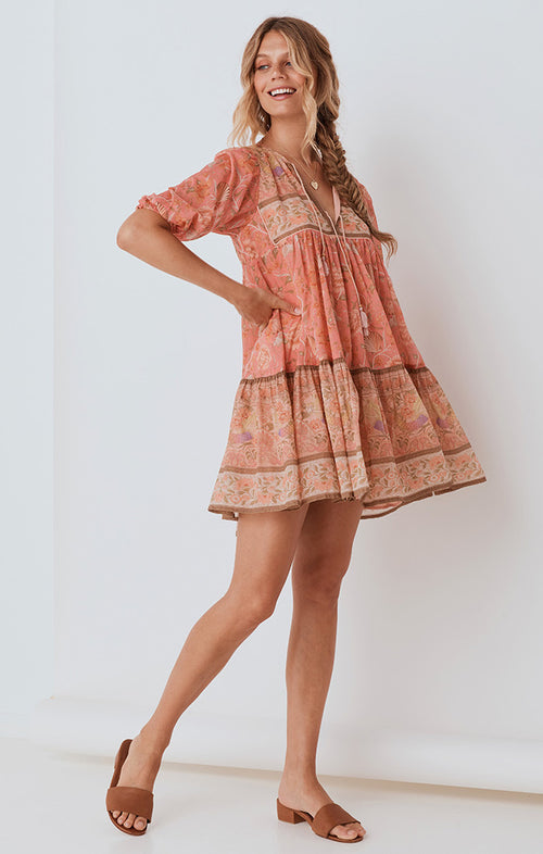 SEASHELL BOHO MINI DRESS