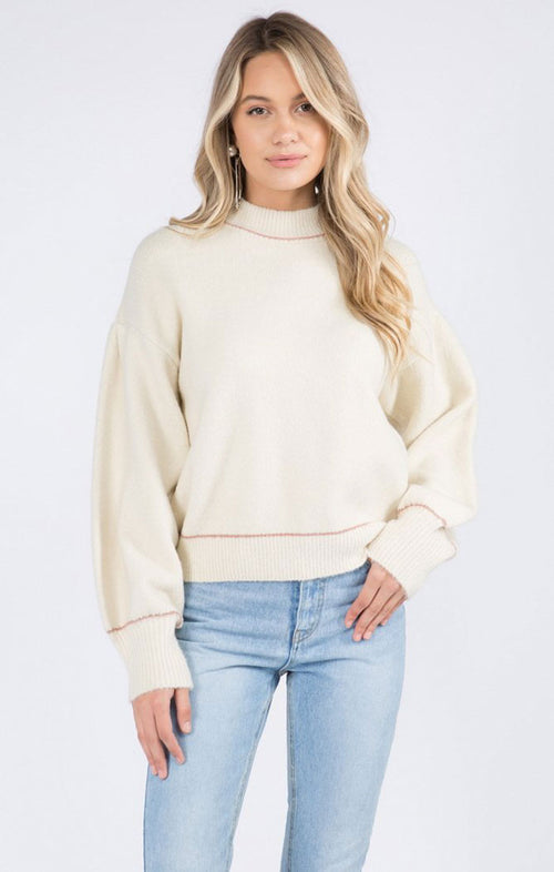 THE IVEY SWEATER - IVORY/MAUVE