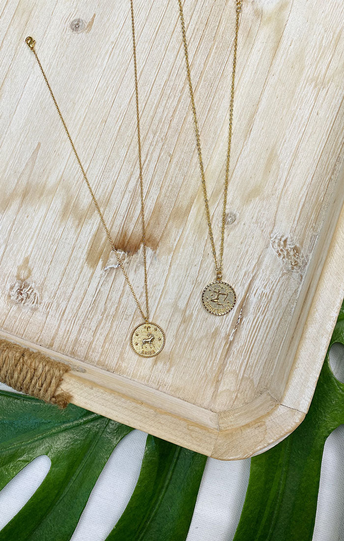 ZODIAC SYMBOL COIN NECKLACE