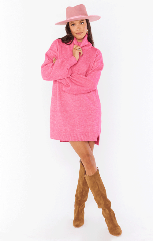 CHESTER SWEATER DRESS ~ HOT PINK KNIT