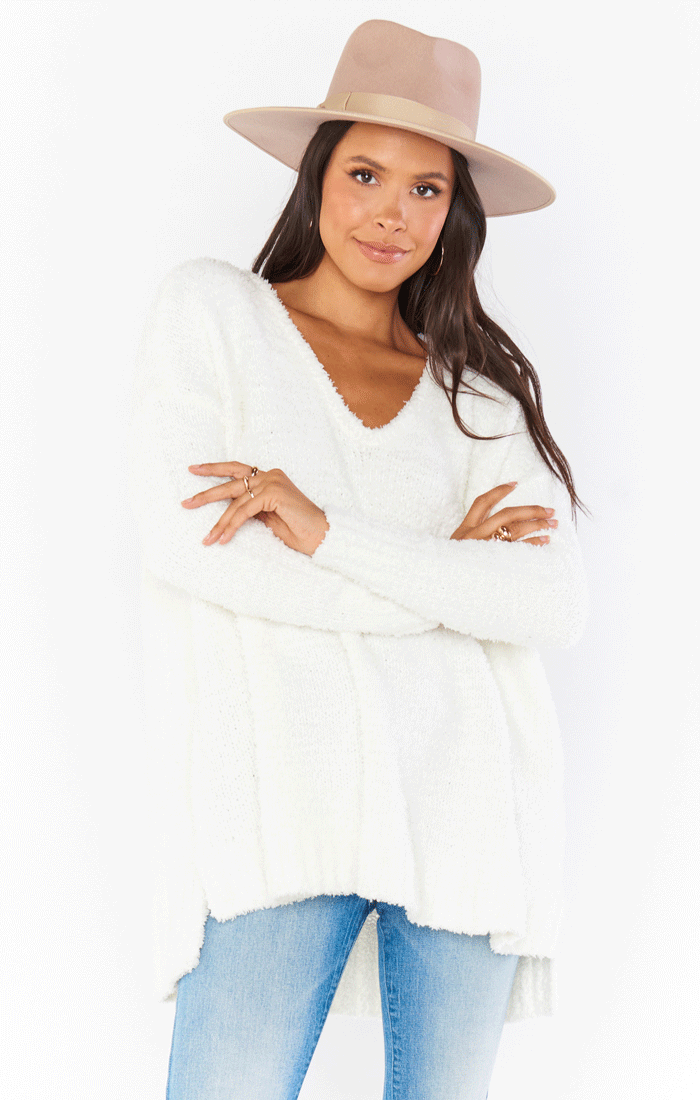 HUG ME SWEATER ~ WHITE FUZZY KNIT