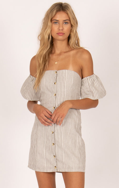 ISLAND SKIES OFF THE SHOULDER DRESS