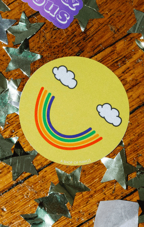 SMILEY RAINBOW STICKER