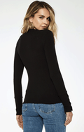 YARA CONTRAST STITCH LONG SLEEVE TOP