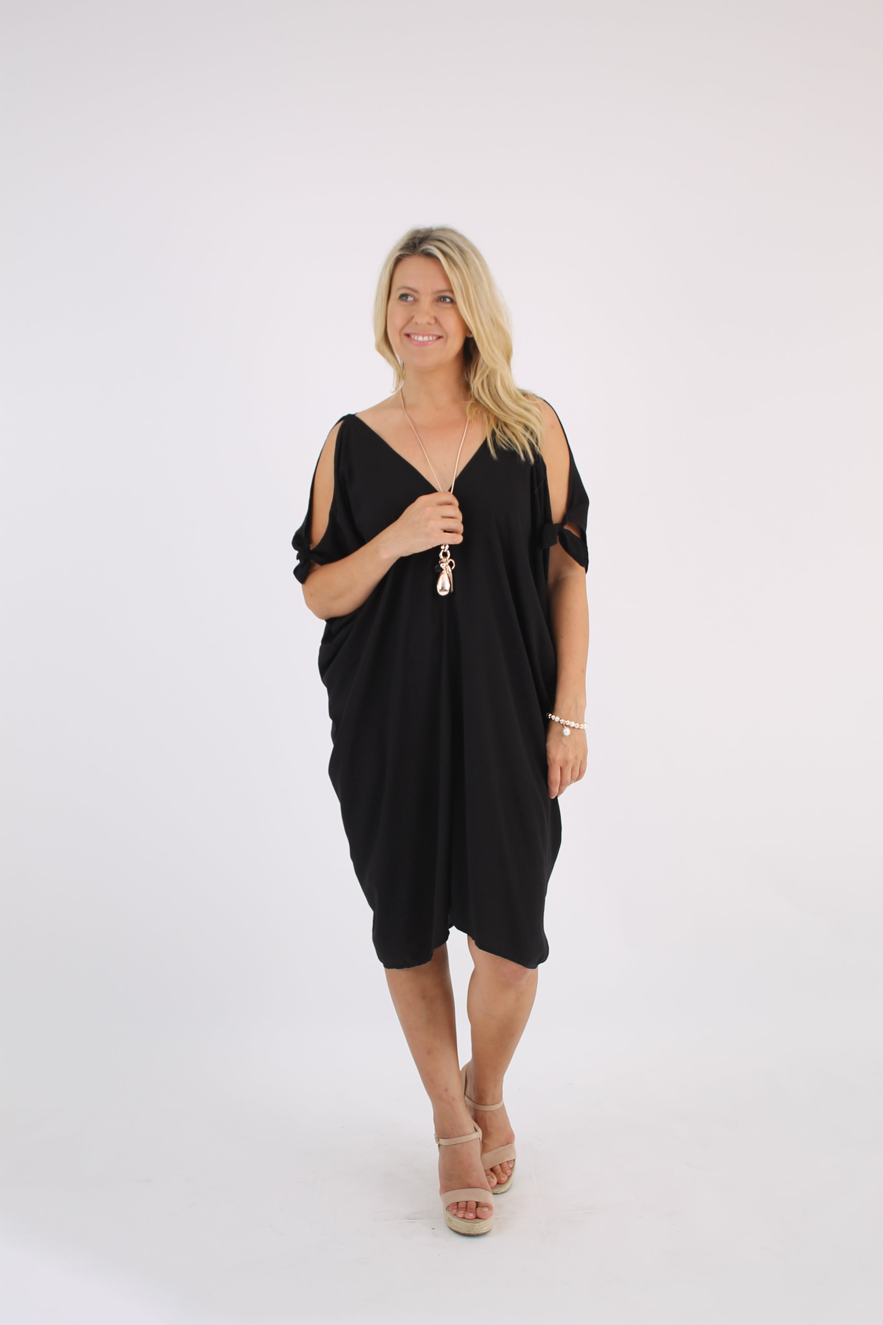 Tie sleeve Kaftan Short Black