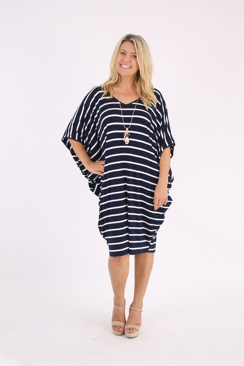 Easy Wear Dress In Navy & White Stripe