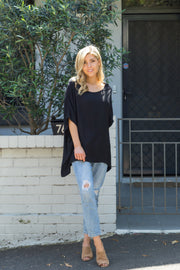 Boho Drape Top - Black