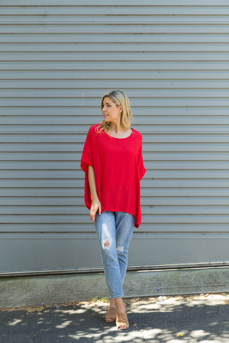 Boho Drape Top - Red