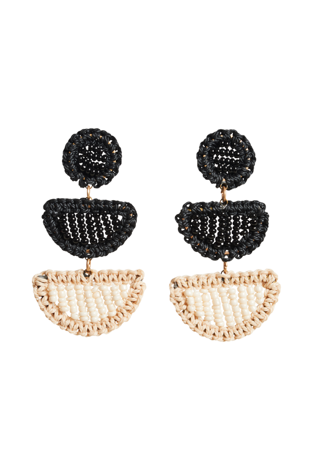 Tranquil Bead Earrings - Black/Ivory