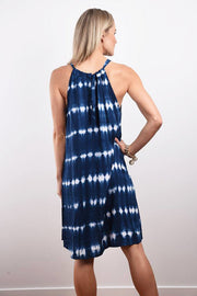 Chloe Short Dress - Shibori Print Tie Dye Navy