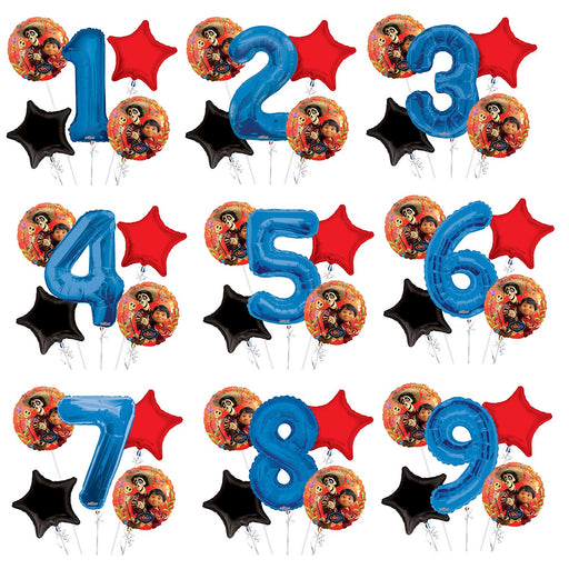 Personalized Age Coco Miguel Birthday Party Number Balloon Bouquet (5 pcs)