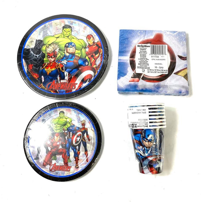 Marvel Avengers Combo Party Express Pack for 8 Guests (Cups Napkins & Plates)
