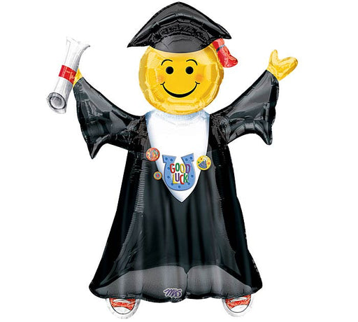 "Good Luck Emoji Birthday/Graduation Supershape Mylar Foil Balloon 27"" in. x 35"" in."