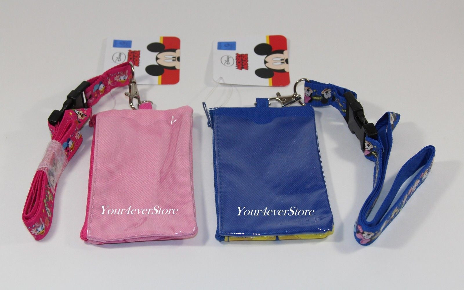 Disney Mickey & Minnie Mouse Lanyard ID Ticket Badge Holder Wallet