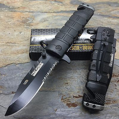 TAC FORCE Spring Assisted Open Tactical Rescue Speedster Pocket Knife- BK/GREY