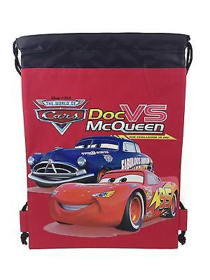 DISNEY CARS MC QUEEN RED DRAWSTRING STRING BACKPACK SCHOOL SPORT GYM TOTE BAG