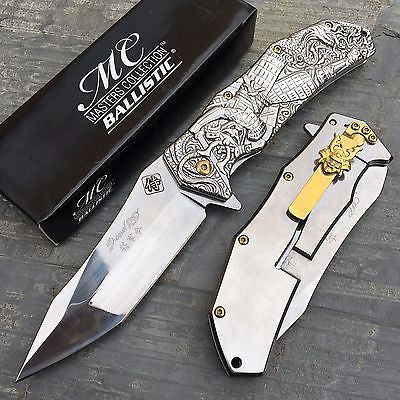 Master Collection Ballistic Silver Samurai Sculpted Art Collector's Pocket Knife
