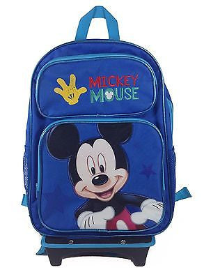 "Disney Mickey Mouse Club House Blue 16"" Back to School Rolling Backpack Bag!"