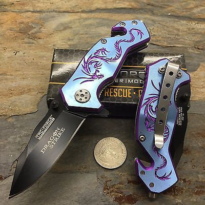 Tac Force Blue Aluminum Handle w/ Purple Dragon Small Spring Assisted Knife