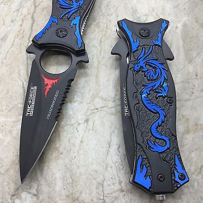 TAC FORCE Blue Dragon Folding Outdoor Tactical Rescue Speedster Pocket Knife