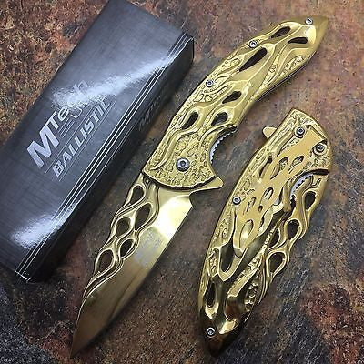 MTech  Assited Open Gold Titanium Coated Blade Flame Cut Collection Pocket Knife