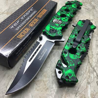 Tac Force Green Skull Head Handle Pocket Hunting Tactical hunting Handy Knife