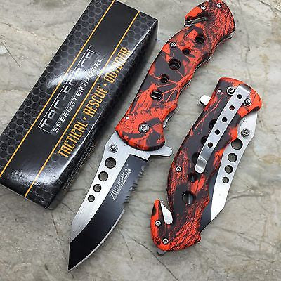 Tac Force Open Assisted Red Camo Serrated Blade Hunting Outdoor Handy Knife