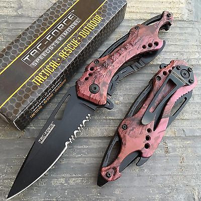 Tac Force Assisted Open Pink/Purple Camo Tatical Outdoor Hunting Pocket Knife