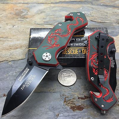 Tac Force Black Aluminum Handle w/ Red Dragon Small Spring Assisted Knife