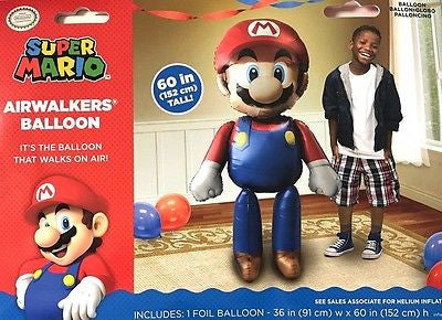 "Super Mario Airwalker 60"" Tall Birthday Party Jumbo Balloon HELIUM NOT INCLUDED"