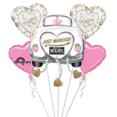 "Party Balloon ""Just Married"" Wedding Bouquet Balloon 5CT Foil Balloon Bouquet"