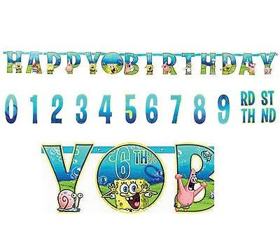 Nickelodeon Spongebob Add an Age Happy Birthday Jumbo Letter Banner Kit