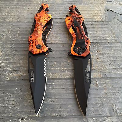 Tac Force Assisted Open Orange/Red Camo Camping Outdoor Hunting Pocket Knife