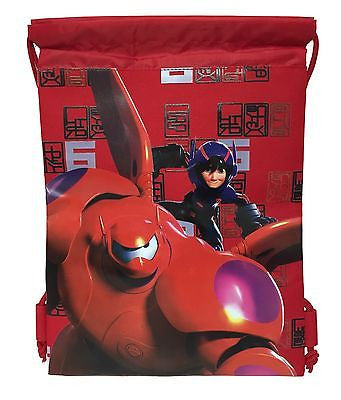 Disney Big Hero 6 Baymax Hiro Wassabi Boys Drawstring Sport Gym Tote Bag - Red