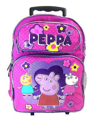 "Nickelodeon Peppa Pig 16"" Large Rolling Backpack Back to School Bag Book Bag"