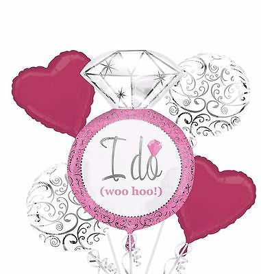 "Party Balloon ""I Do"" Wedding Bouquet Balloon 5CT Foil Balloon Bouquet HELIUM NOT INCLUDED"