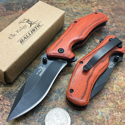 Elk Ridge Liner lock A/O Small Hunting Pocket Knife with Wooden Handle