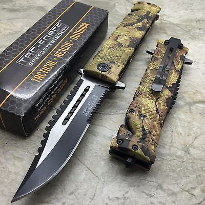 TAC-FORCE Assisted Opening Sawback Bowie Rescue Camo Glass Breaker Knife NEW