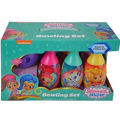 Shimmer & Shine Bowling Set Toy Game Kids Birthday Gift Toy 6 Pins &1 Ball