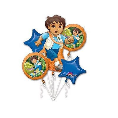 Nickelodeon Diego Happy Birthday Party Favor 5CT Foil Balloon Bouquet