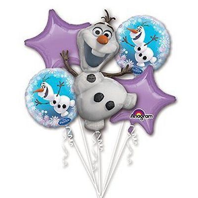 Disney Frozen Olaf Bouquet Happy Birthday Party Favor 5CT Foil Balloon Bouquet