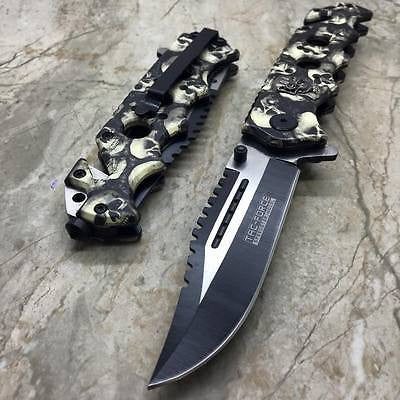 Tac Force Grey Skull Head Handle Pocket Hunting Tactical hunting Handy Knife