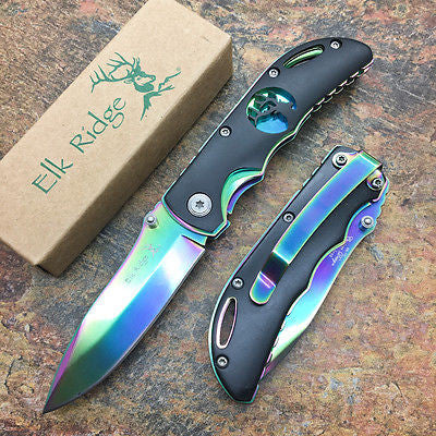 Elk Ridge Small Folding Rainbow Blade Black Handle Gentleman's Pocket Knife