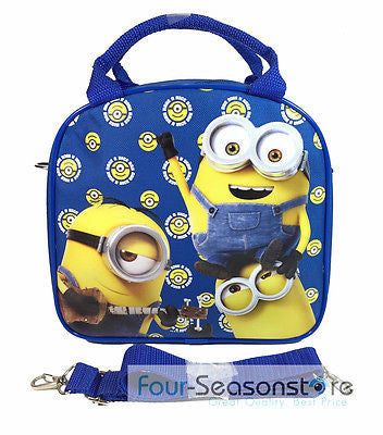 Minion Bob Kevin Stuart Shoulder Strap Royal Blue Insulated Lunch Box Bag