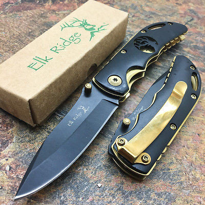 Elk Ridge Small Folding Gold Trim Black Handle Gentleman's Pocket Knife