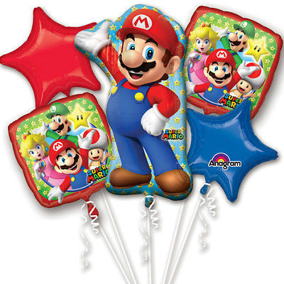 Ninentido Super Mario Happy Birthday Party Favor 5CT Foil Balloon Bouquet HELIUM NOT INCLUDED