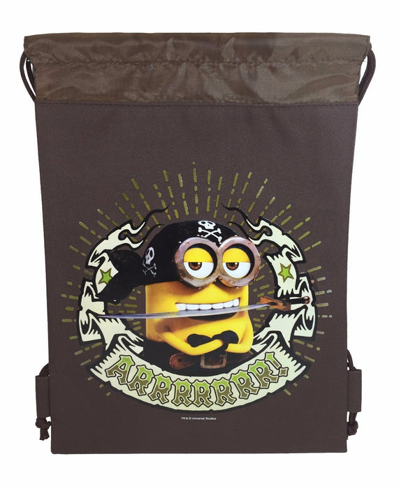 Brown Cute Pirate Minion one eye minion Stuart Minion Drawstring Sport Bag