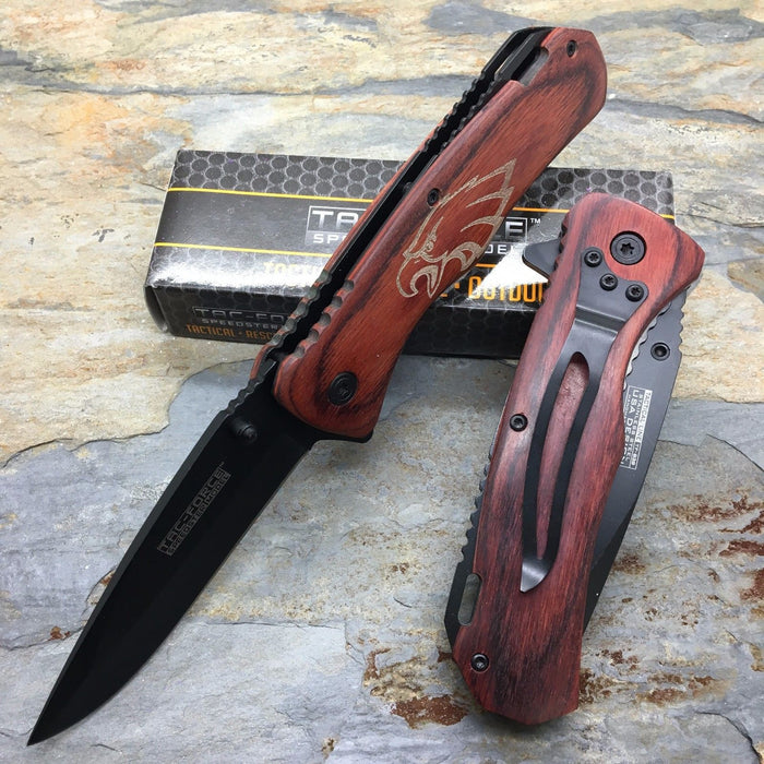 Tac Force Spring Assisted Brown PAKKA wood eagle etch handle Pocket Knife