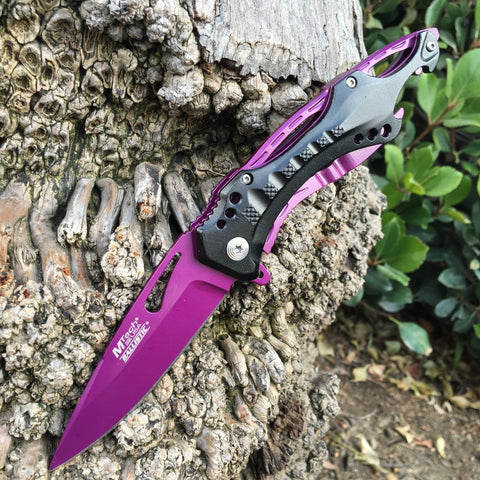 M-Tech Spring Assisted Purple Blade TI-Coated Aluminum Tactical Pocket Knife!